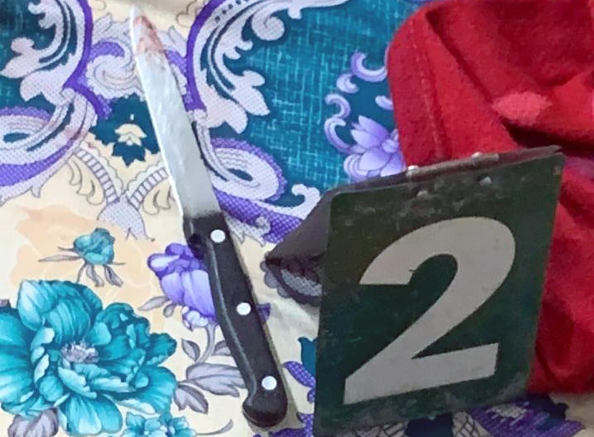 Con dao gây án được phát hiện ở nhà bên cạnh các nạn nhân. Ảnh: Hồng Tuyết