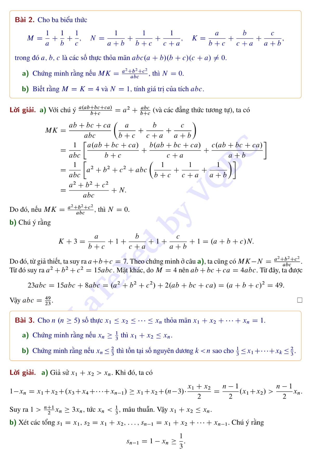 Đề và lời giải môn Toán chuyên trường Phổ thông Năng khiếua - 2