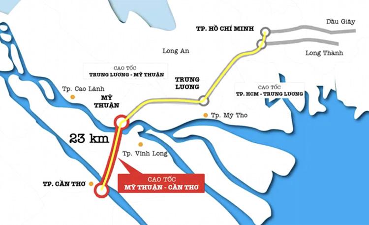 Sơ đồ toàn tuyến cao tốc từ TP HCM đến Cần Thơ. Ảnh: Ban quản lý dự án Mỹ Thuận