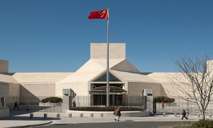 Đại sứ quán Trung Quốc ở thủ đô Washington, Mỹ tháng 7/2020. Ảnh: Xinhua.