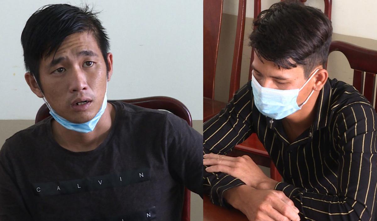 Thương (trái) và Kiệt tại Công an huyện Long Điền. Ảnh: Quang Bình.