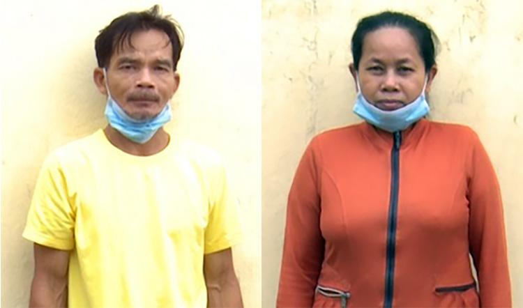 Vợ chồng Nuôi và Thuý tại cơ quan công an. Ảnh: An Phú