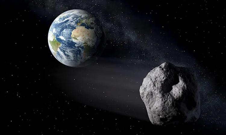 Mô phỏng tiểu hành tinh bay qua Trái Đất. Ảnh: Peter Carril.