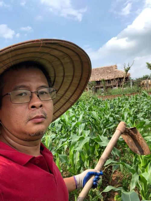 Thầy Minh tự tay chăm sóc ruộng ngô, trước khi bán lấy tiền mua thiết bị y tế ủng hộ Bắc Giang. Ảnh: NVCC.