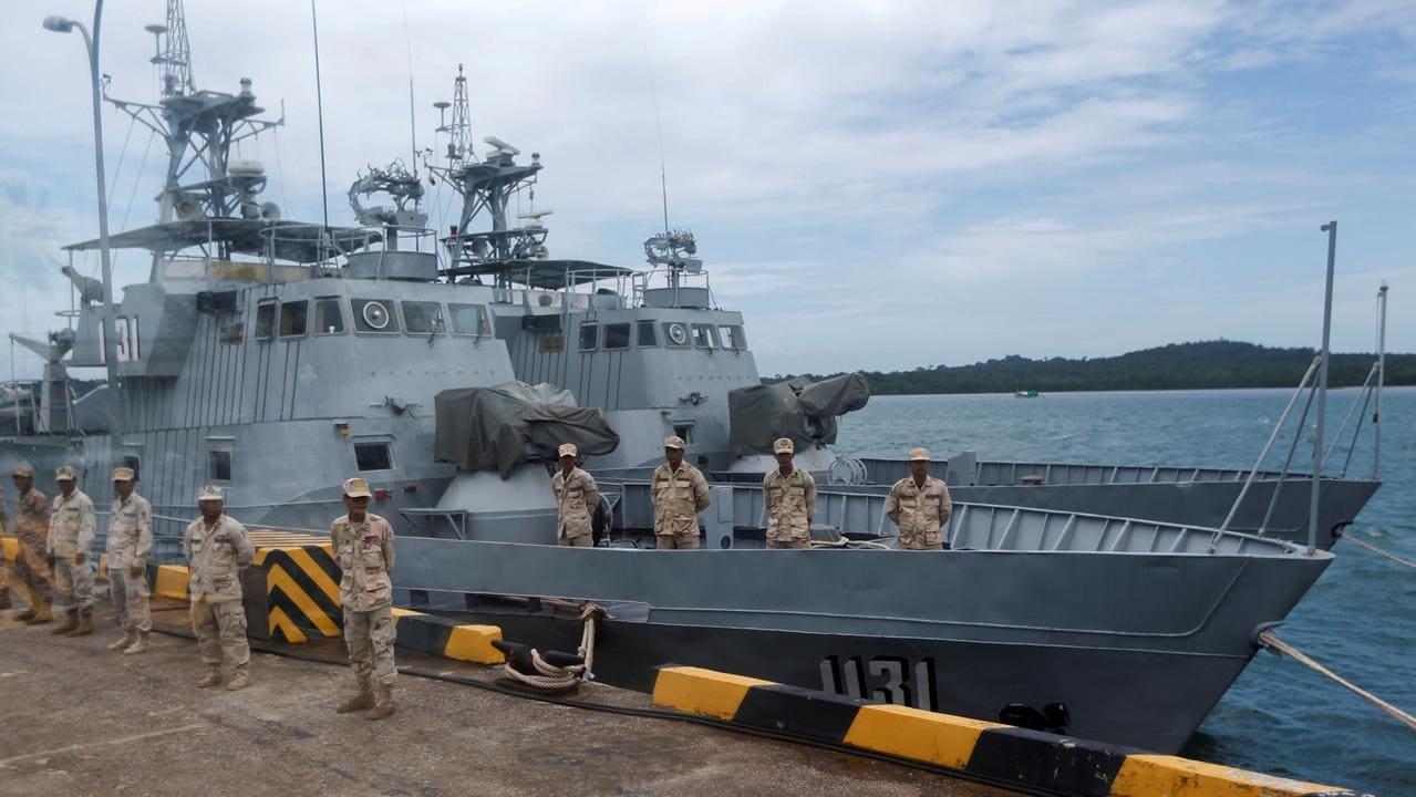 Binh sĩ Campuchia tại căn cứ hải quân Ream ở Sihanoukville. Ảnh: Reuters.
