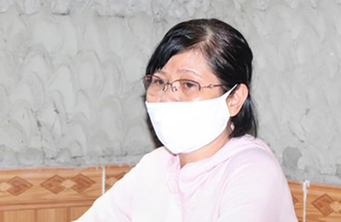 Nguyễn Thị Thủy tại cơ quan điều tra. Ảnh: Công an cung cấp