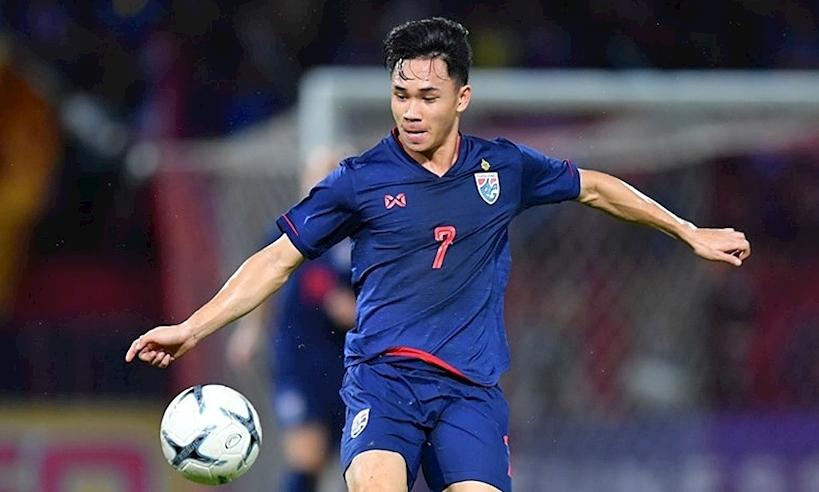 Supachok đã ghi hai bàn trong tám trận cho đội tuyển Thái Lan. Ảnh: Changsuek