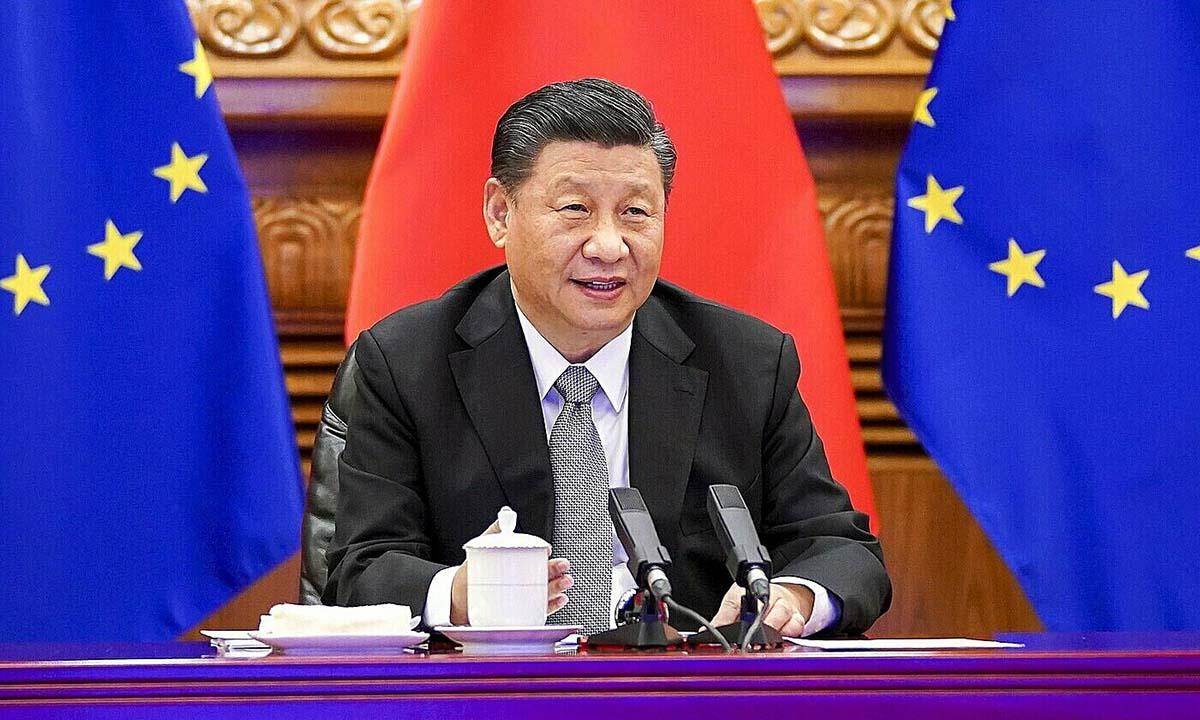 Chủ tịch Trung Quốc Tập Cận Bình họp trực tuyến với lãnh đạo EU hồi tháng 12/2020. Ảnh: AP.