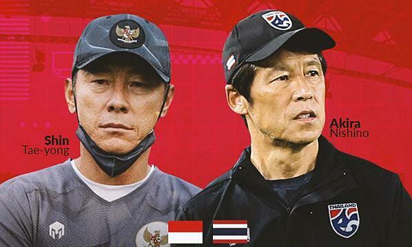 Shin Tae-yong và Akira Nishino lần đầu đấu trí với tư cách HLV hai đội Đông Nam Á. Ảnh: Bola