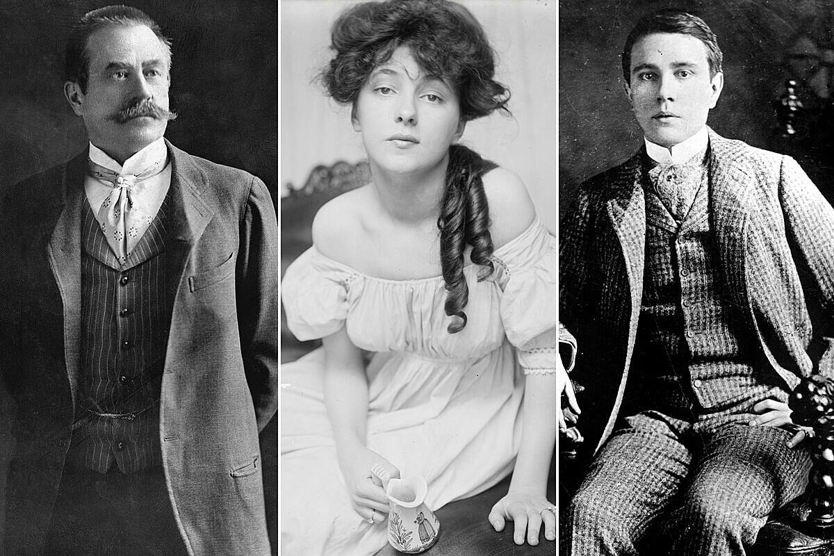 Từ trái qua: Staford White, Evelyn Nesbit và Harry Thaw. Ảnh: New York Post