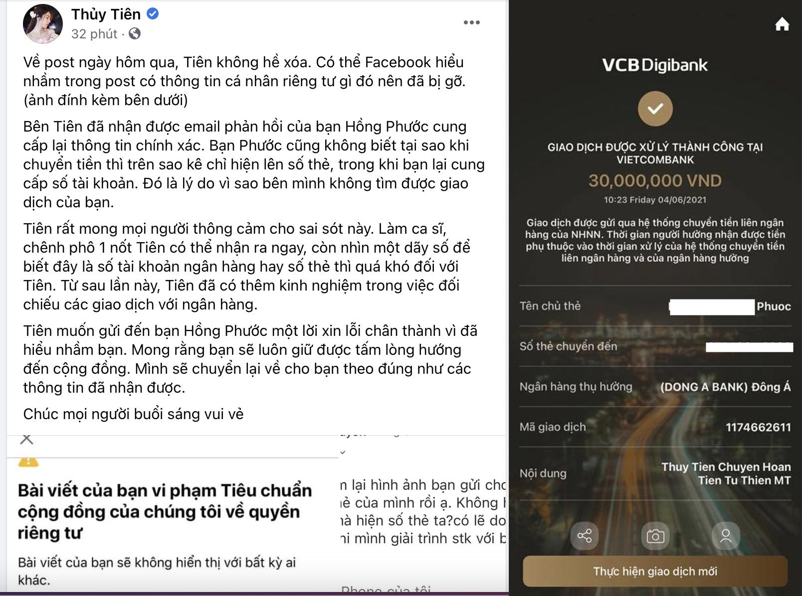 Bài chia sẻ của Thủy Tiên sau những lùm xùm chuyển nhầm tiền từ thiện.