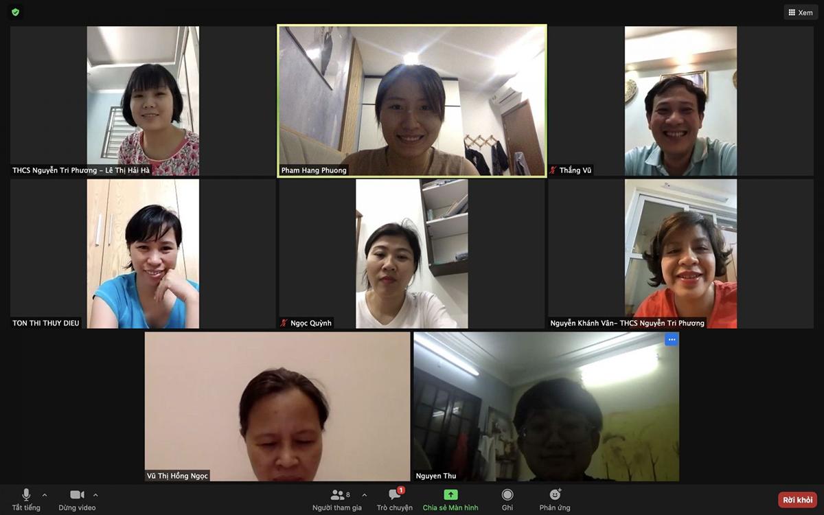 Trường THCS Nguyễn Tri Phương họp trực tuyến ngay sau khi nhận được thông báo điều chỉnh kỳ thi vào lớp 10. Ảnh: Nhà trường cung cấp.