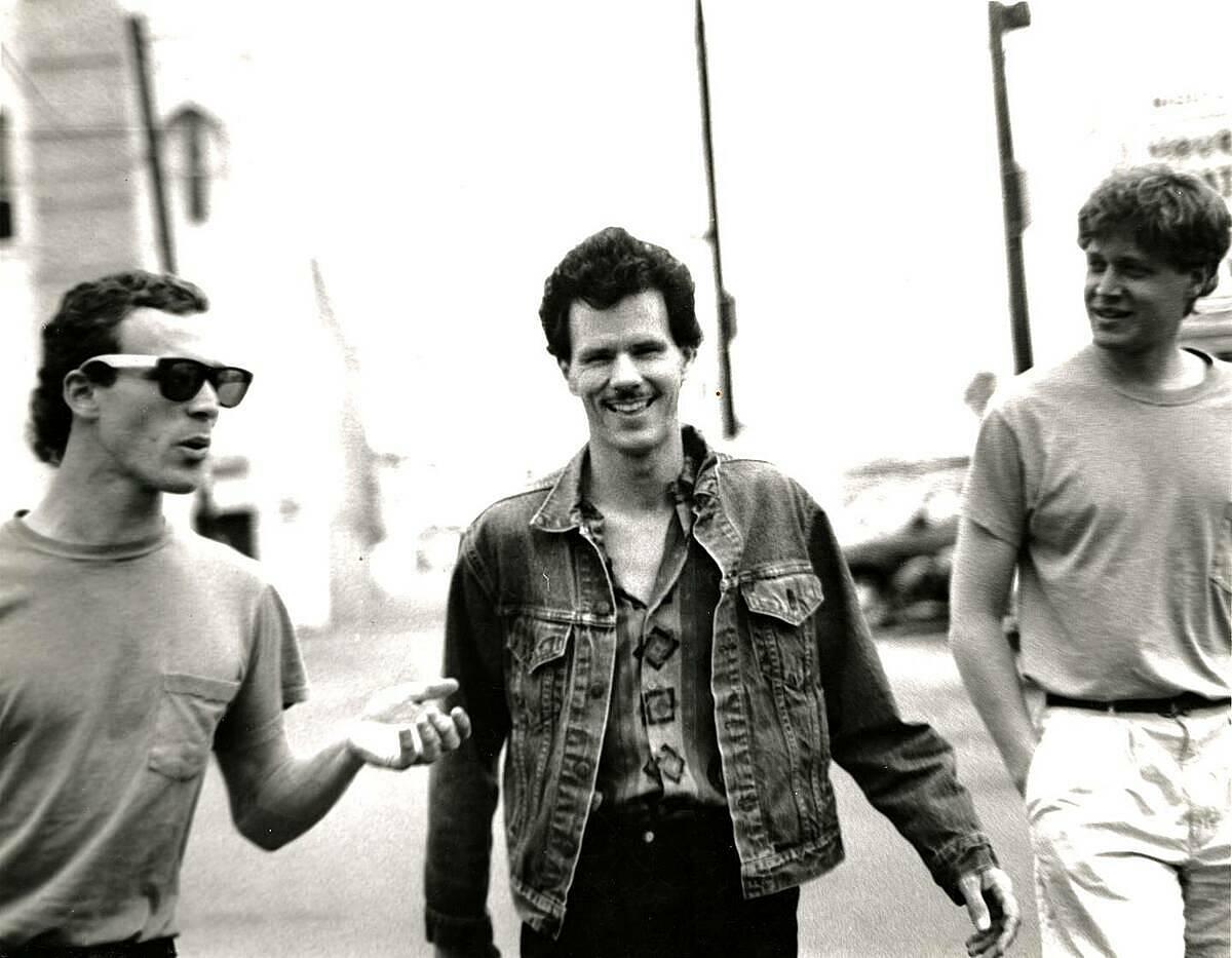 Phil Johnson (giữa) và hai thành viên còn lại của ban nhạc Mobius thời chưa tan rã. Ảnh: NZherald