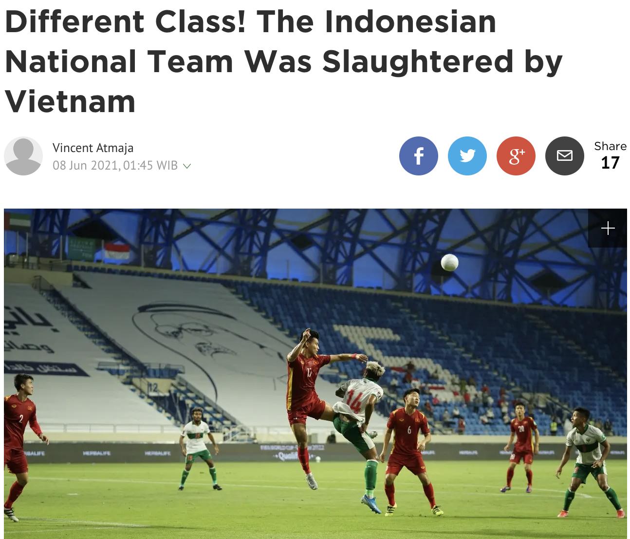 ชื่อบทสรุปหลังการแข่งขันของหนังสือพิมพ์ชาวอินโดนีเซีย Bola.com  ความแตกต่างทางชนชั้น อินโดนีเซียถูกสังหารโดยเวียดนาม หนังสือพิมพ์ฉบับนี้เขียน  ภาพหน้าจอ