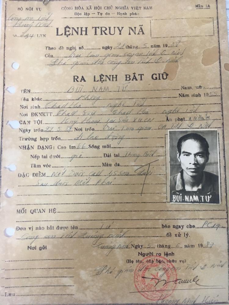 Lệnh truy nã đối với Tứ cách đây 34 năm. Ảnh: Công an tỉnh Quảng Ninh