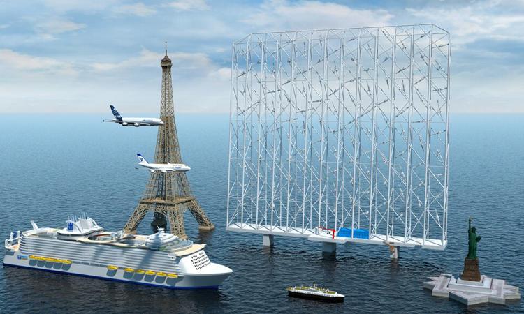 So sánh kích thước của dàn turbine gió nổi Windcatcher với một số công trình và phương tiện lớn. Ảnh: Wind Catching Systems.