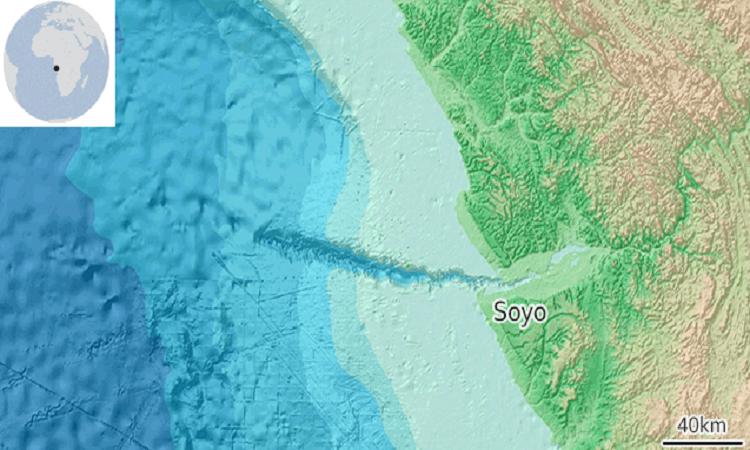 Vụ lở đất xảy ra ở vực sâu nối liền với cửa sông Congo. Ảnh: GEBCO Grid.