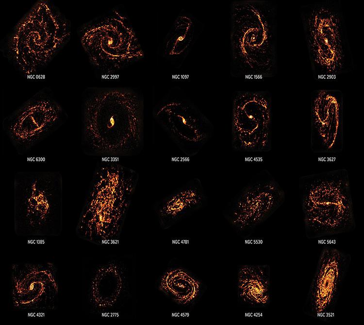 Dữ liệu hình ảnh từ ALMA cho thấy cấu trúc đa dạng của các thiên hà hình thành sao. Ảnh: PHANGS.
