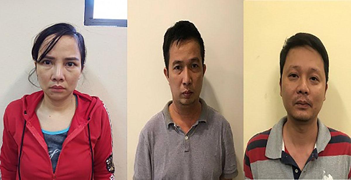 Phạm Thị Thái, Vũ Đình Hùng và Phạm Mạnh Hùng (từ trái qua) tại cơ quan điều tra. Ảnh: Công an cung cấp.