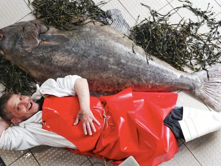 Người bán cá William Ronald Elliot nằm cạnh cá bơn lưỡi ngựa. Ảnh: Campbell Mickel.
