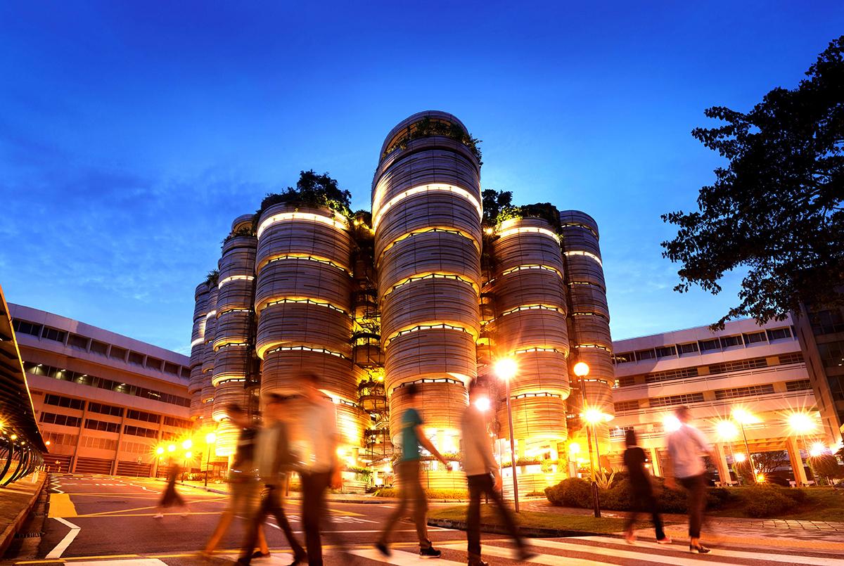 Toà nhà độc lạ của Đại học Công nghệ Nanyang. Ảnh: NTU.