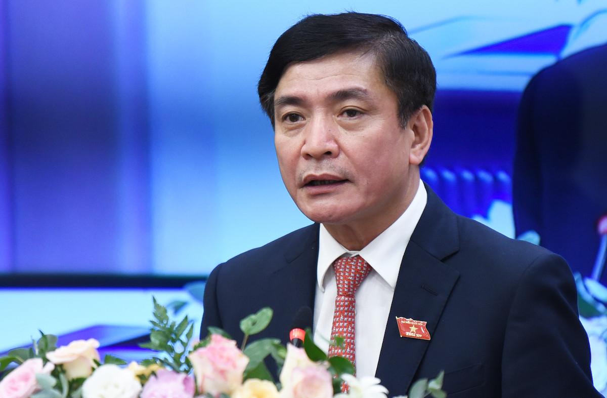 Tổng thư ký, Chủ nhiệm Văn phòng Quốc hội Bùi Văn Cường tại cuộc họp báo chiều 10/6. Ảnh: Hoàng Thuỳ.