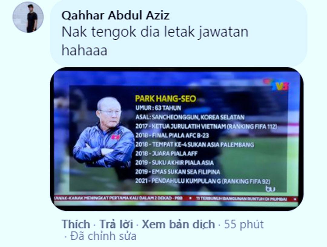 Một CĐV hy vọng thấy thầy Park từ chức sau thất bại trước Malaysia.
