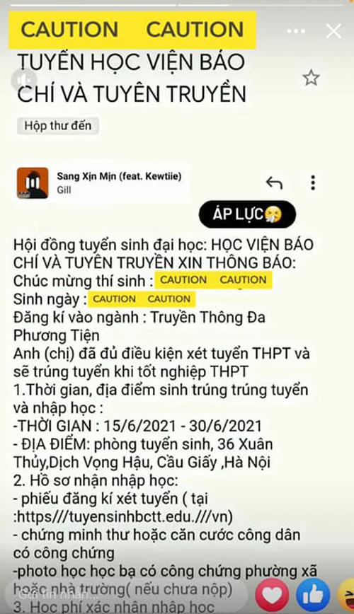 Thư giả mạo thông báo trúng tuyển đăng trên fanpage của Học viện Báo chí và Tuyên truyền, cảnh báo thí sinh không làm theo yêu cầu tránh hậu quả đáng tiếc. Ảnh: Fanpage HVBC&TT.