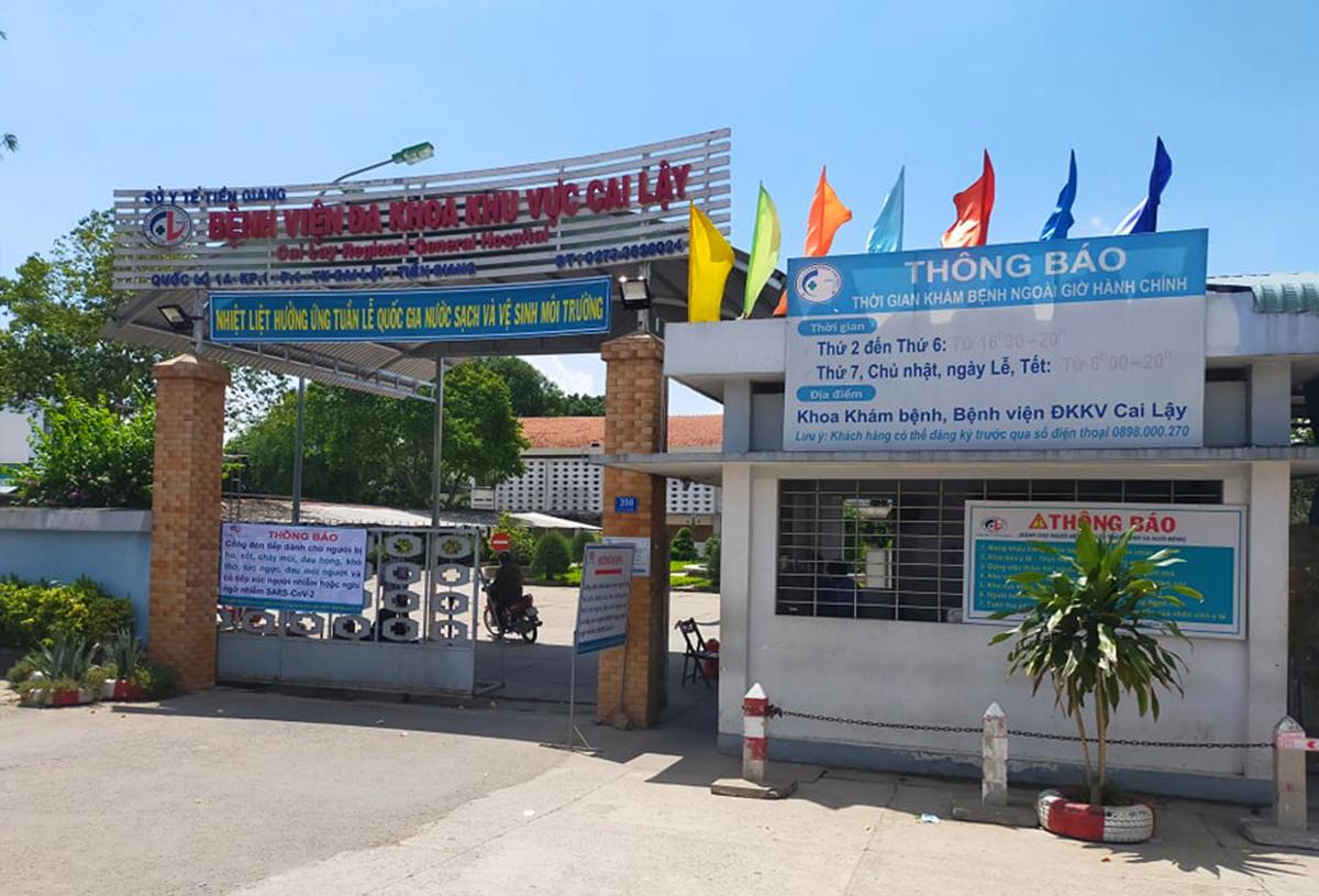 Bệnh viện Đa khoa khu vực Cai Lậy, nơi bệnh nhân được cách ly. Ảnh: Nam An