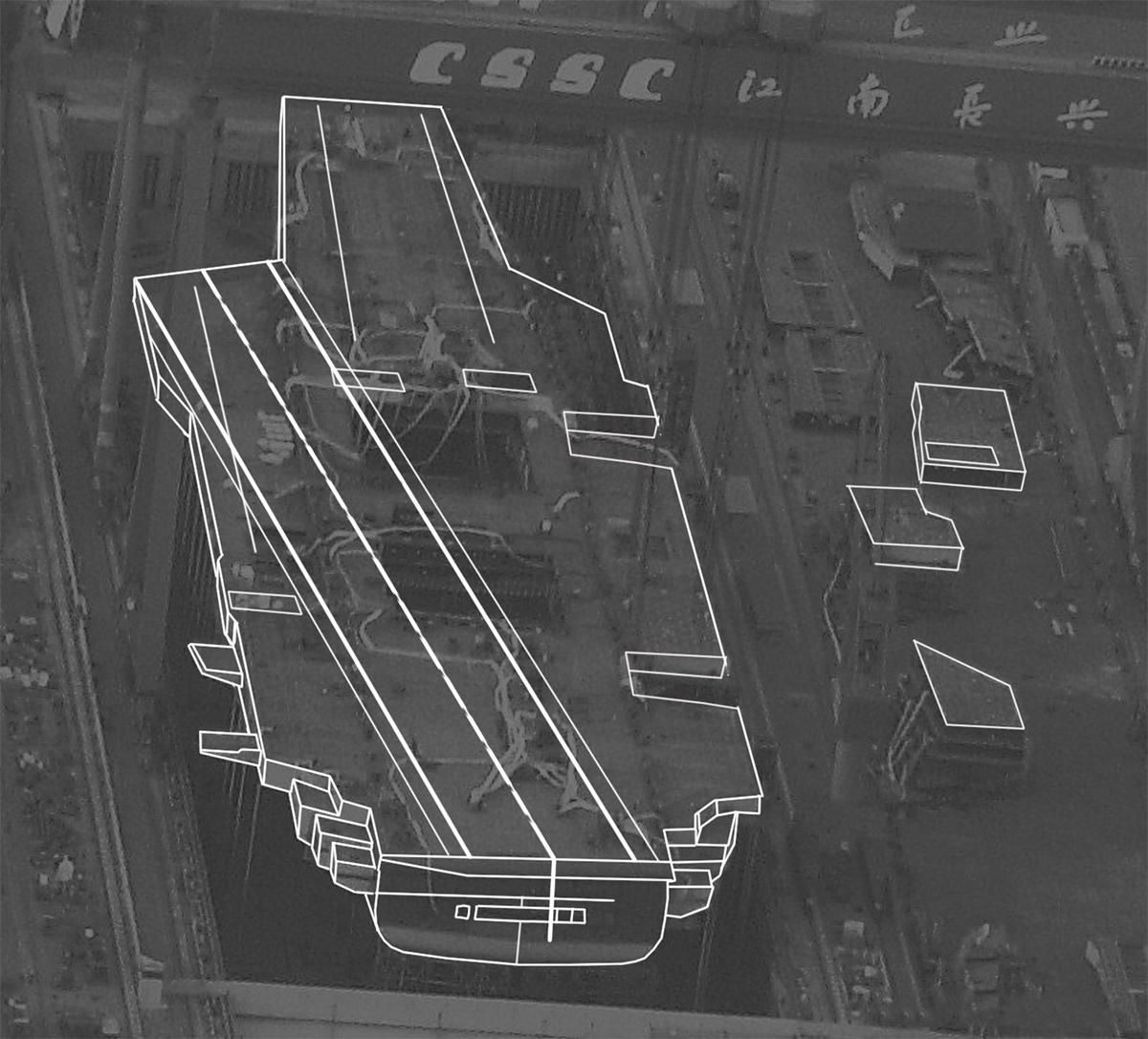 Mô phỏng hình dáng của tàu sân bay Type-003. Ảnh: Twitter/louischeung_hk.