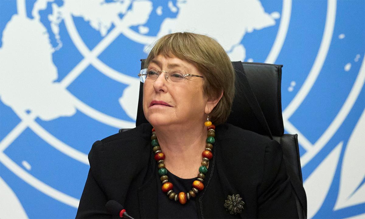 Cao ủy Nhân quyền Liên Hợp Quốc Michelle Bachelet trong buổi họp báo tại Geneva, Thụy Sĩ tháng 9/2020. Ảnh: Reuters.