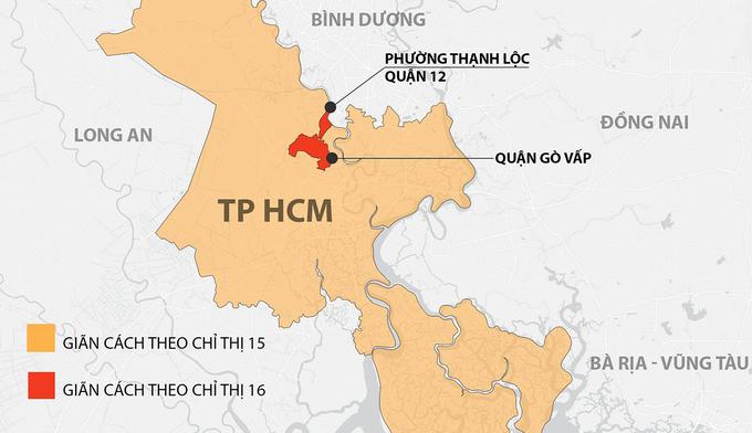TP HCM bị giãn cách xã hội theo Chỉ thị 15, quận Gò Vấp và phường Thạnh Lộc, quận 12, giãn cách theo Chỉ thị 16, từ 0h ngày 31/5. Đồ hoạ: Khánh Hoàng.