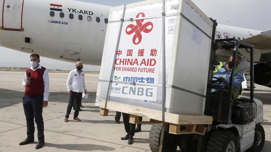 Vaccine Covid-19 của Sinopharm được Trung Quốc tặng cho Syria vào ngày 24/4. Ảnh: AFP.