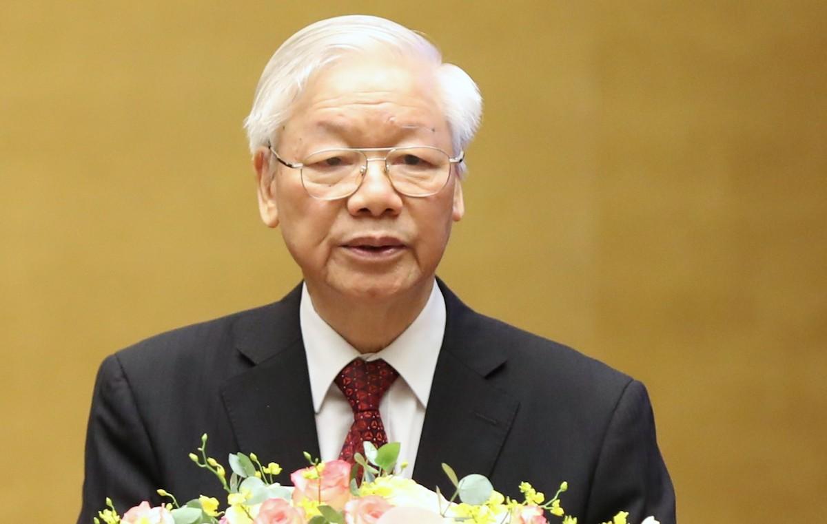 Tổng Bí thư Nguyễn Phú Trọng tại Hội nghị sáng 12/6. Ảnh: Hoàng Phong
