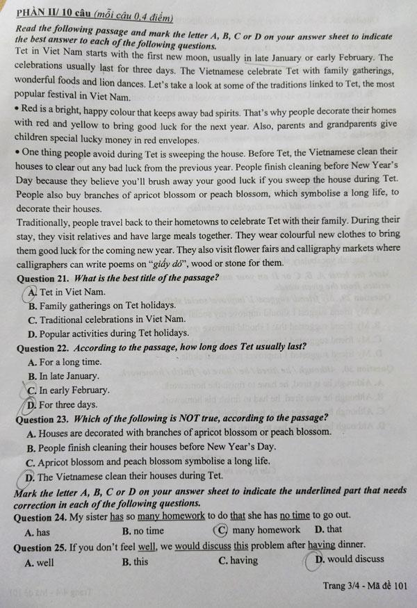Đề Tiếng Anh vào lớp 10 công lập Hà Nội - 2