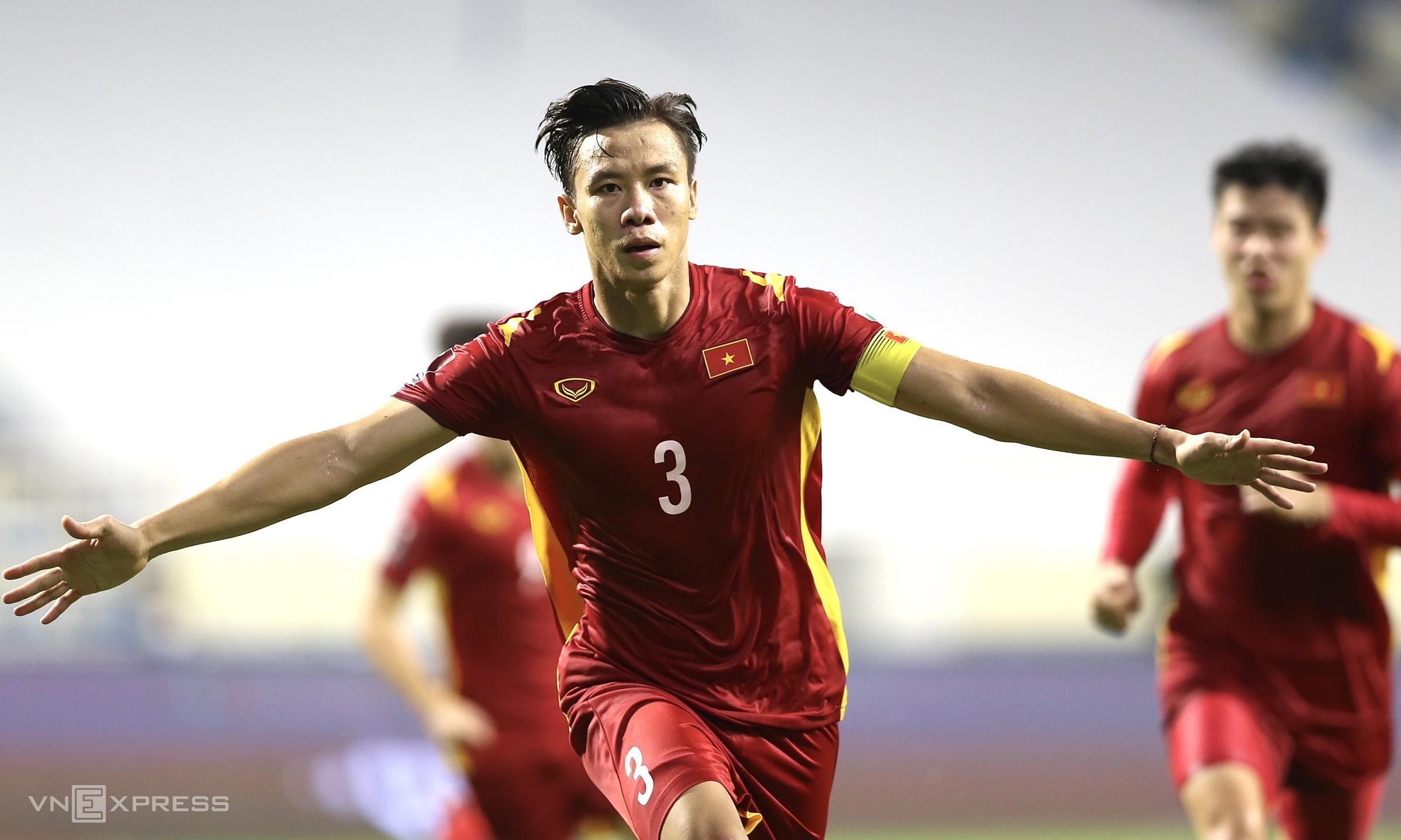 """หง็อกไห่ฉลองประตูชัยช่วยให้เวียดนามเอาชนะมาเลเซีย 2-1  ภาพถ่าย: """"Lam Thua ."""""""