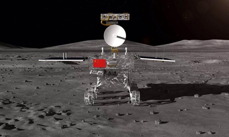 Minh họa tàu Hằng Nga 4 đáp xuống nửa tối Mặt Trăng. Ảnh: Chinese Academy of Sciences.