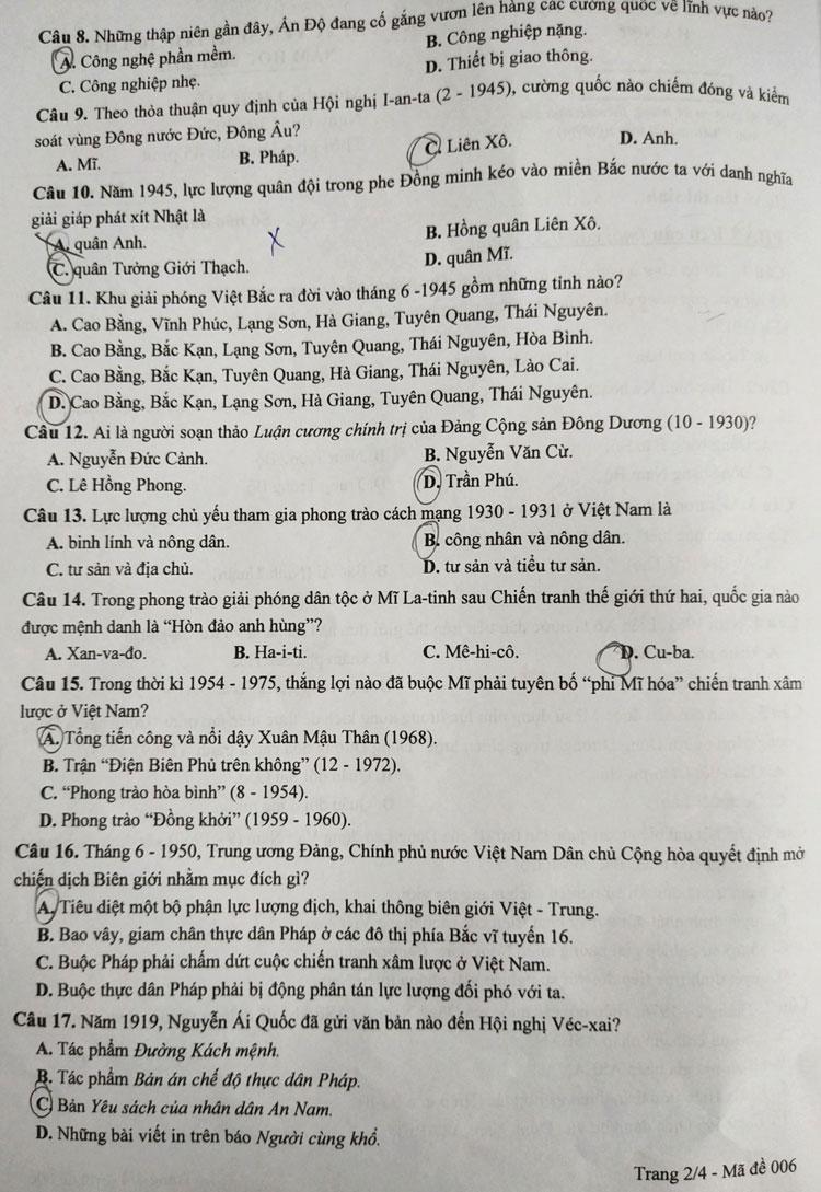 Đề thi Lịch sử vào lớp 10 công lập Hà Nội - 1