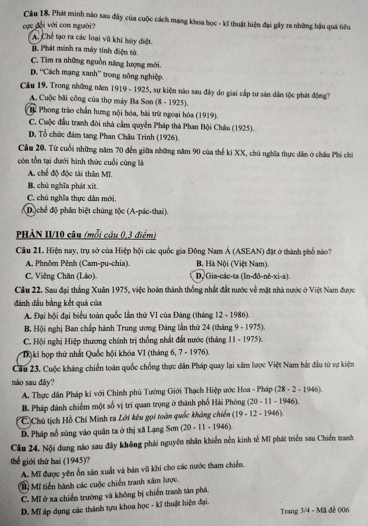 Đề thi Lịch sử vào lớp 10 công lập Hà Nội - 2