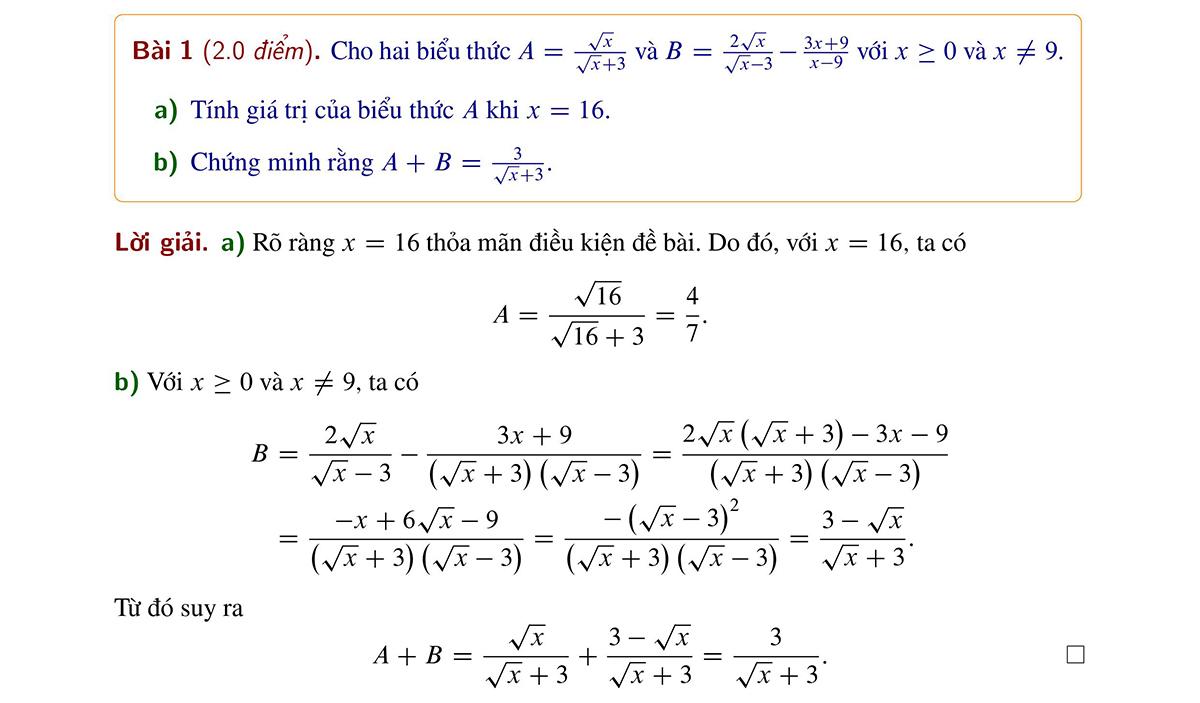 Đề và đáp án Toán thi vào lớp 10 ở Hà Nội - 1