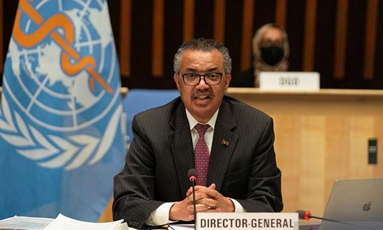 Tổng giám đốc WHO Tedros Ghebreyesus tham dự cuộc họp của Đại hội đồng Y tế Thế giới ở Geneva, Thụy Sĩ hôm 24/5. Ảnh: Reuters.