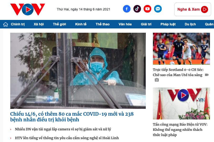 Giao diện báo điện tử VOV.