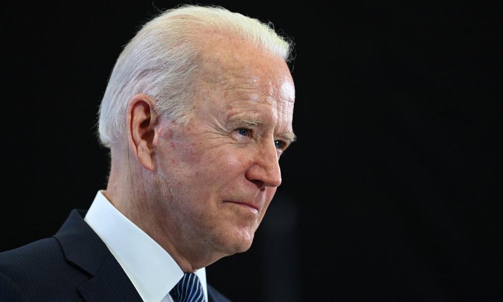 Biden họp báo trước khi rời Anh hôm 13/6. Ảnh: AFP.