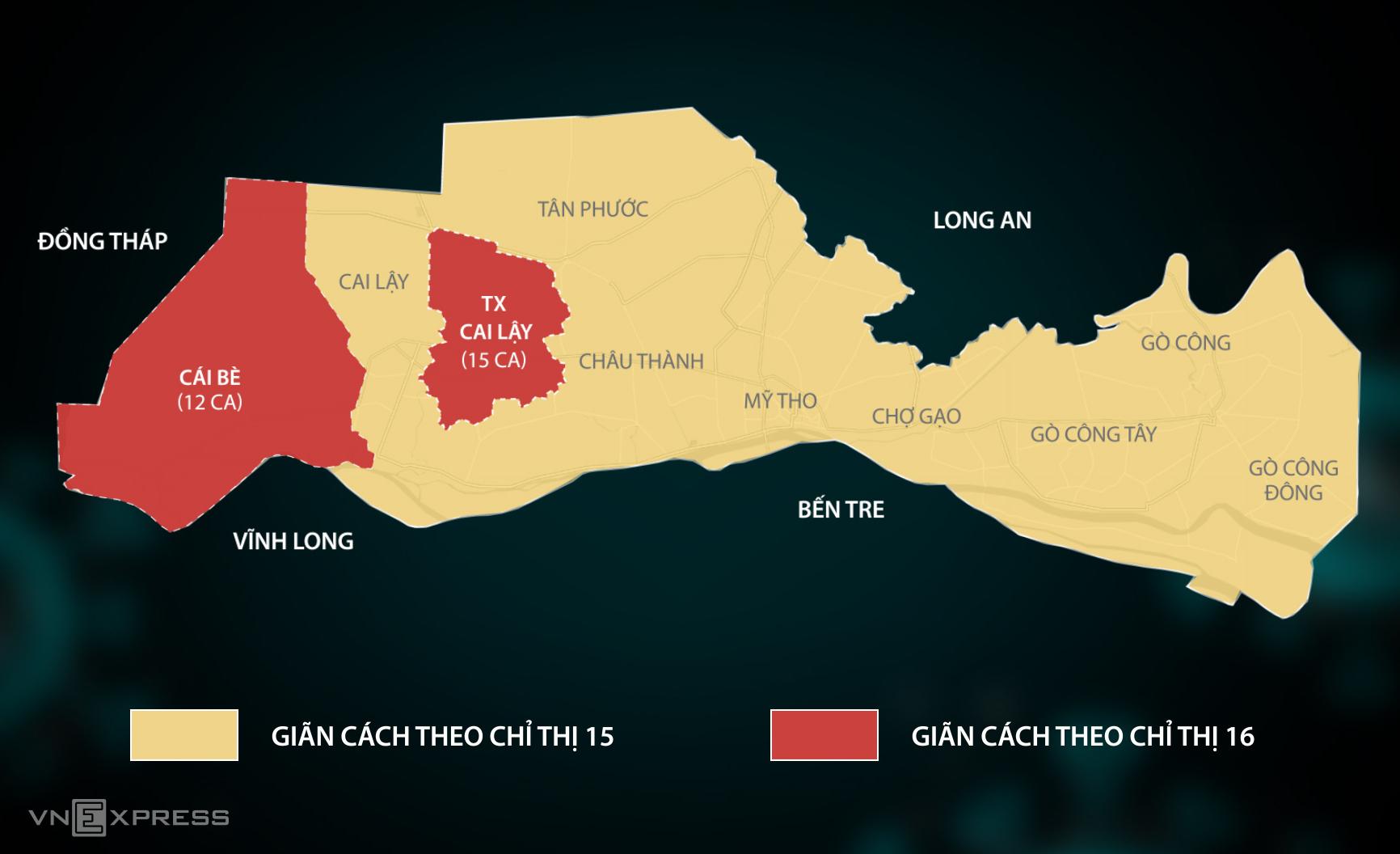 Thị xã Cai Lậy và huyện Cái Bè áp dụng giãn cách theo Chỉ thị 16. Đồ họa: Lê Huyền