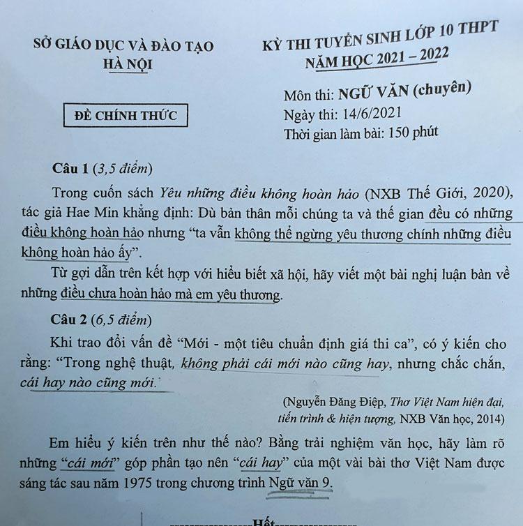 Đề Ngữ văn vào lớp 10 THPT chuyên ở Hà Nội