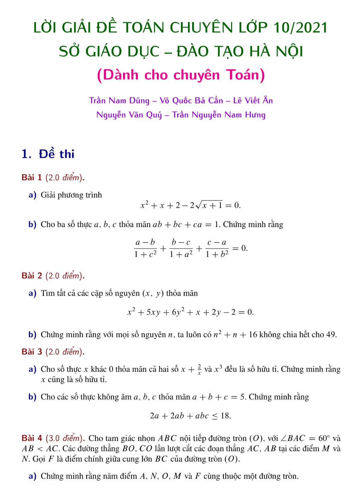Lời giải đề thi Toán vào lớp 10 trường chuyên Hà Nội
