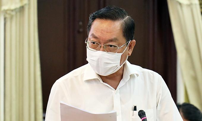Giám đốc Sở Y tế TP HCM Nguyễn Tấn Bỉnh. Ảnh: Trung tâm báo chí TP HCM.