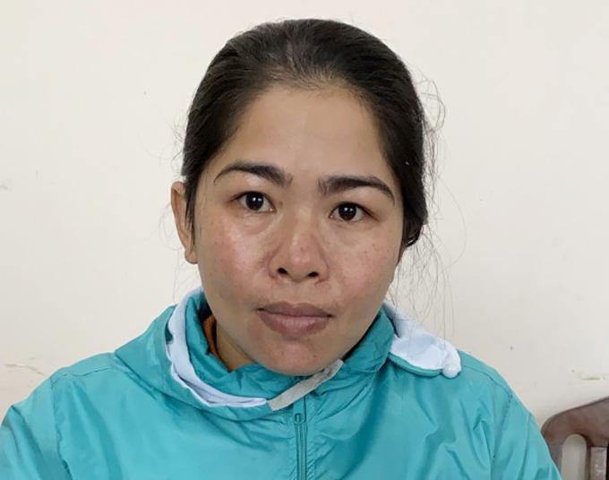 Nguyễn Thị Sinh tại cơ quan điều tra. Ảnh: Công an cung cấp.