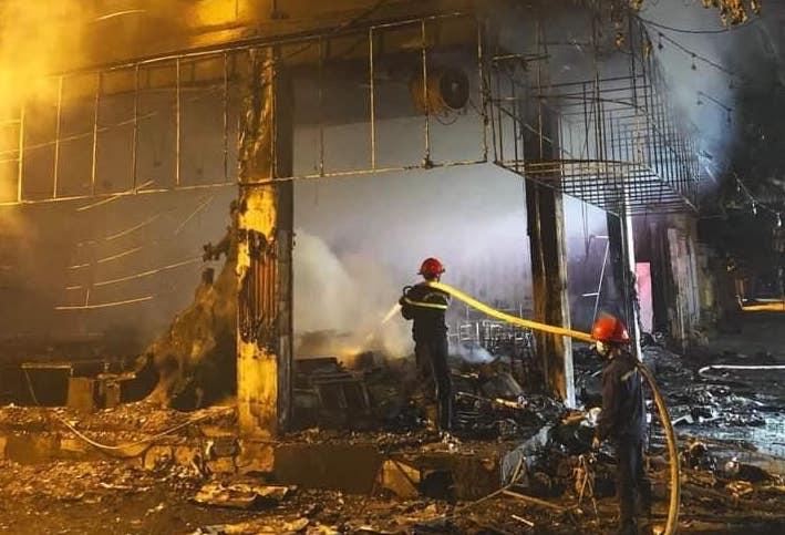 Hiện trường vụ cháy phòng trà ca nhạc ở TP  Vinhh. Ảnh: CTV
