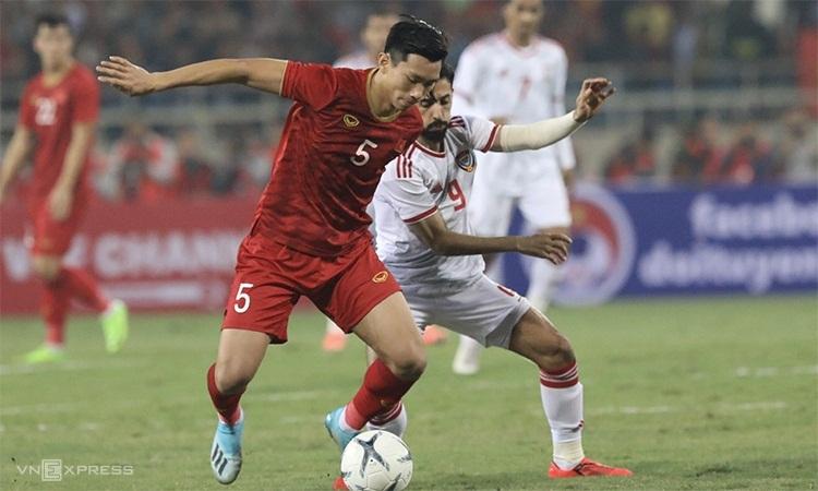 Việt Nam từng thắng UAE 1-0 trong trận lượt đi trên sân Mỹ Đình năm 2019. Ảnh: Ngọc Thành.